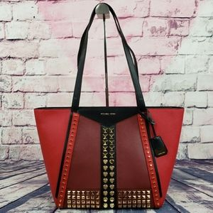Michael Kors Whitney LG Studded Tote Red